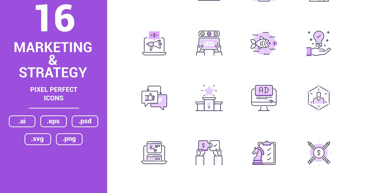 Download Marketing and Strategy Color Vector Line Icons by graphics4u
