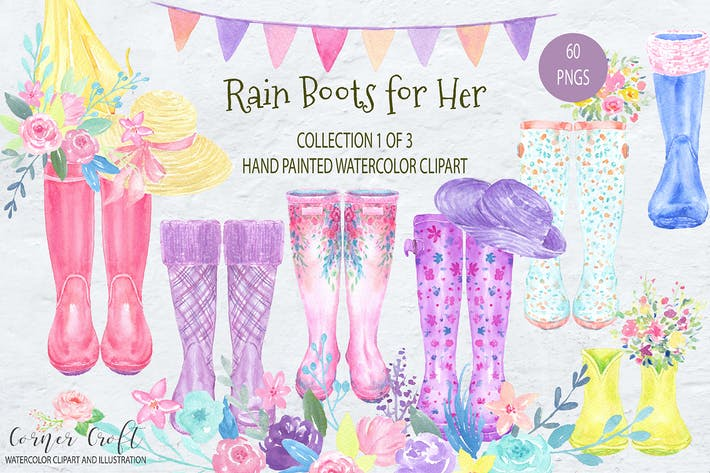 Cover Image For Watercolor Rain Boots for Her