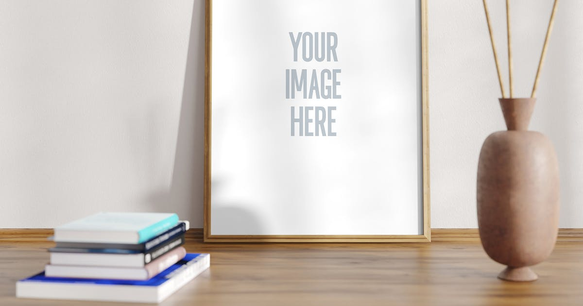 Download Mockup A4 Frame Clear Wood with scene by CorgiAstronaut