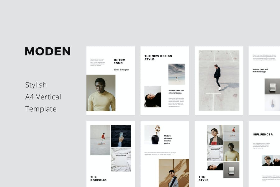 MODEN - Шаблон стиля вертикальных поKeynote A4