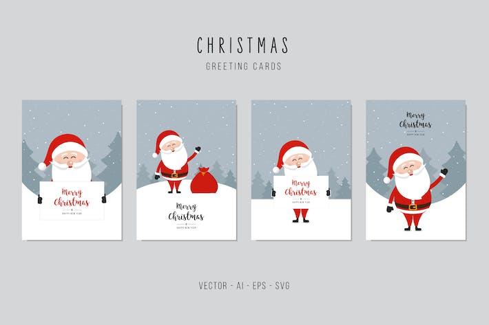 Thumbnail for Christmas Santa Claus Cute Vector Card Set