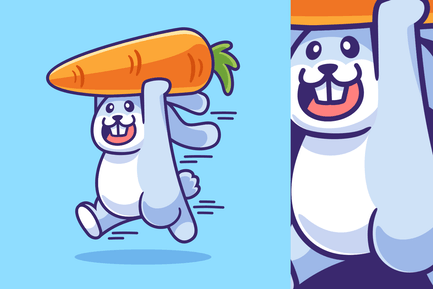 Bunny Run with Carrot Illustration