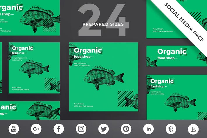 Thumbnail for Organic Food Social Media Pack Template