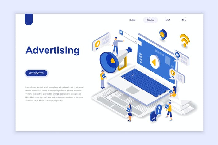 Thumbnail for Advertising and Promo Isometric Landing Page