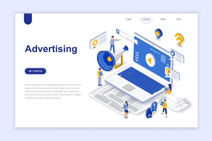 Isometrische Angebotsseite für Werbung und Promo