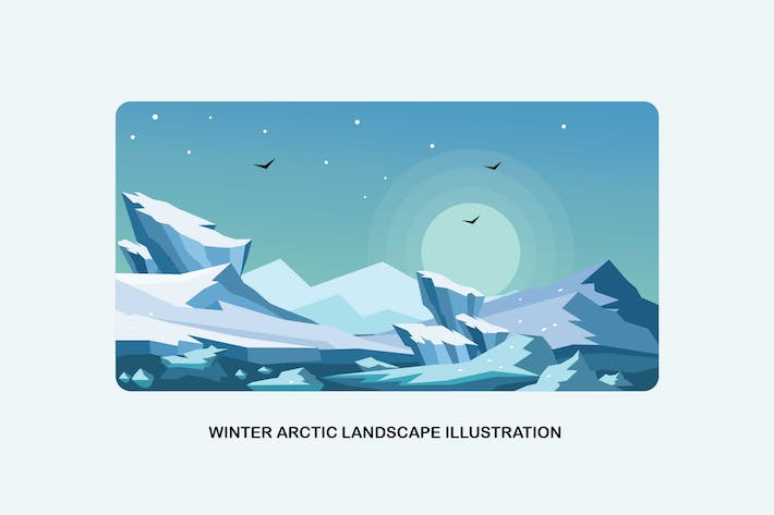 Thumbnail for Winter Arctic Landscape Vector Illustration