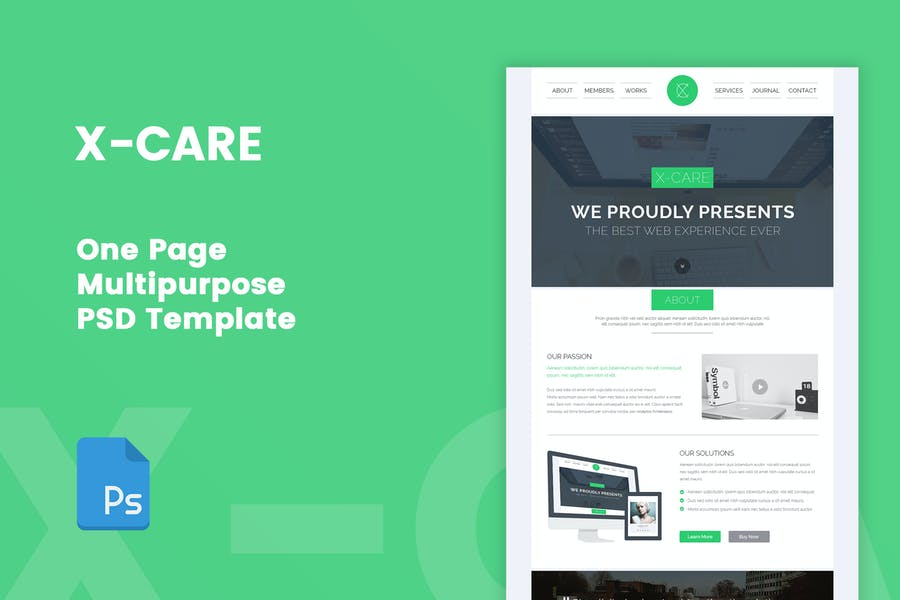 X-CARE - One Page Multipurpose PSD Template