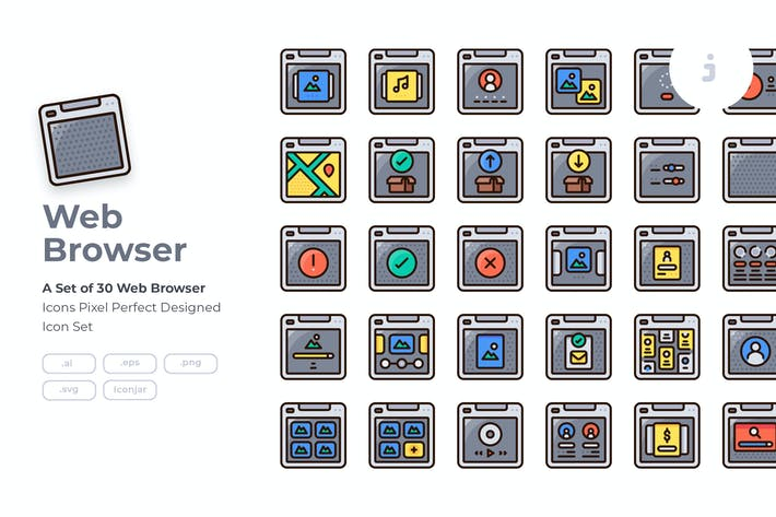Thumbnail for 30 Web Browser Icon set - Detailed Round line