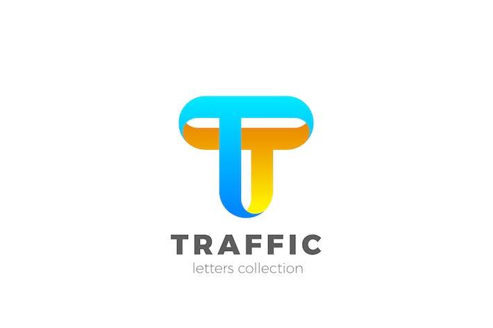 Cover Image For Letter T Logo design 3D Ribbon style