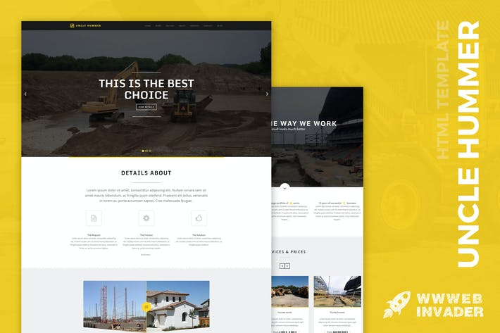 Thumbnail for Uncle Hummer - Responsive HTML Building Template