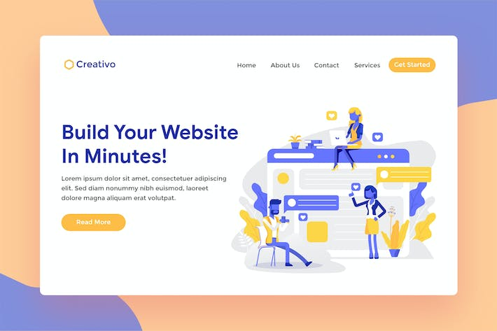 Thumbnail for Website Builder Hosting Landing Page Illustration