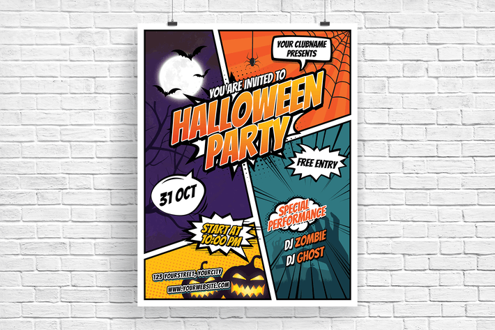 Thumbnail for Comic Style Halloween Party Flyer
