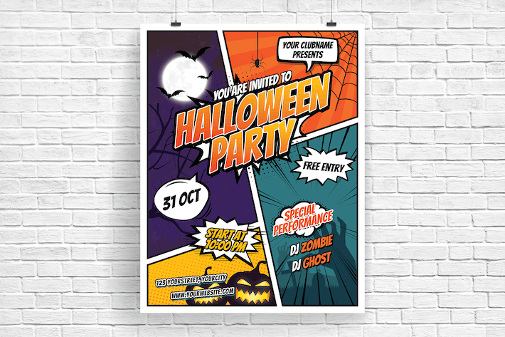 comic style halloween party flyer by itefan on envato elements