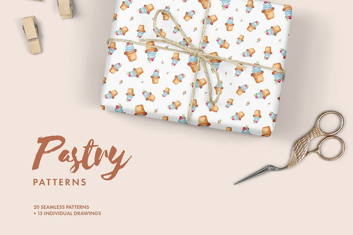 Thumbnail for Watercolor Pastry Patterns