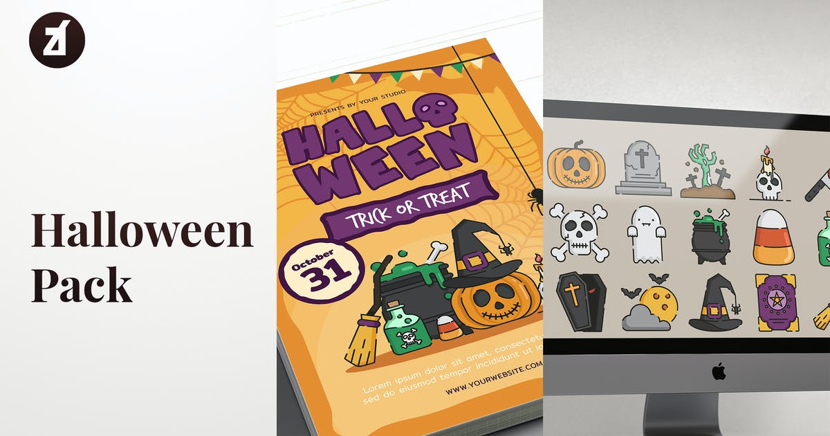 Download Halloween icon pack with bonus graphic templates by Chanut_industries