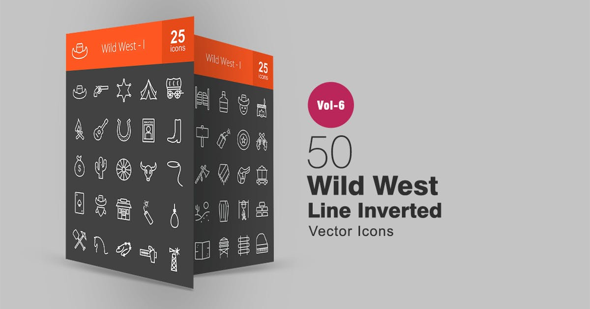 Download 50 Wild West Line Inverted Icons by IconBunny