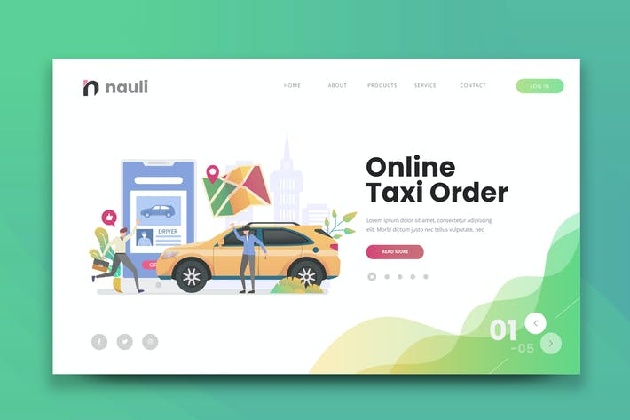 Thumbnail for Online Taxi Order Web PSD and AI Vector Template