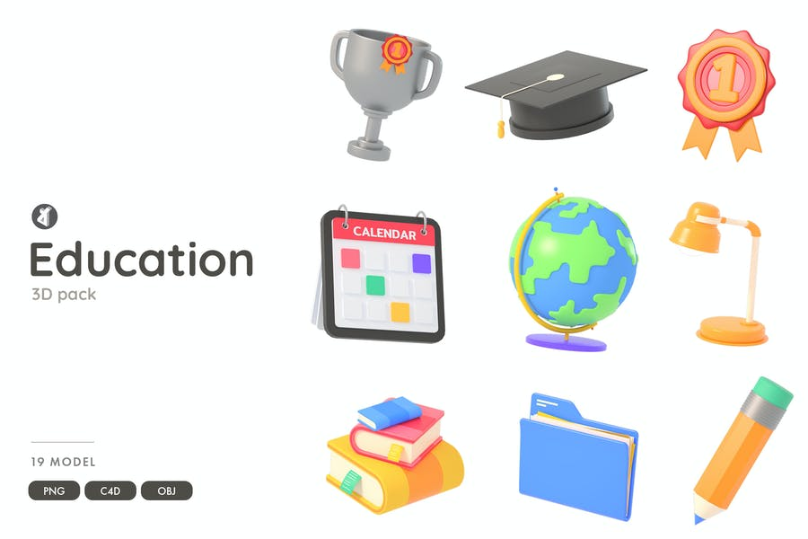Education 3D object pack
