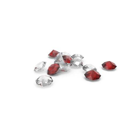 Куча бриллиантов Красный Белый