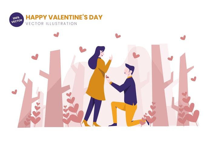 Thumbnail for Proposing On Valentines Day Flat Illustration