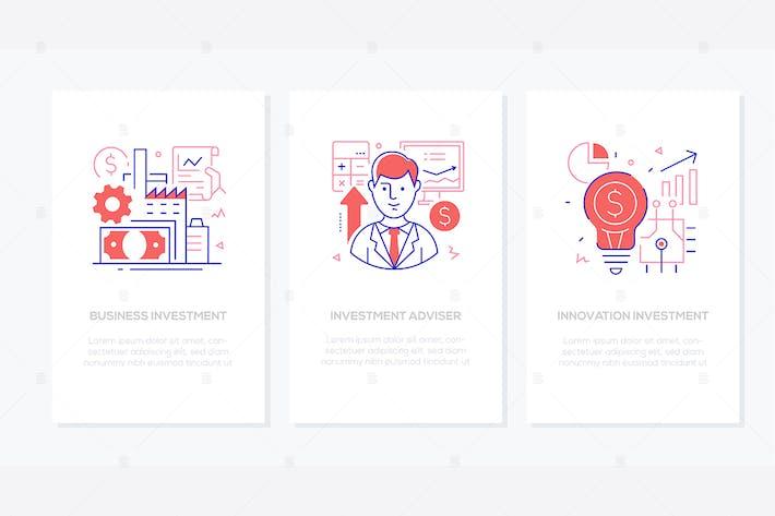 Thumbnail for Operaciones financieras - banners de estilo de diseño de línea
