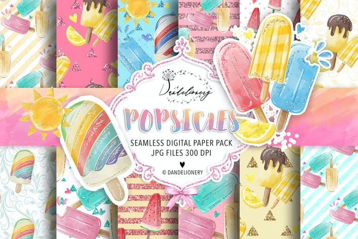 Thumbnail for Watercolor Popsicles digital paper pack