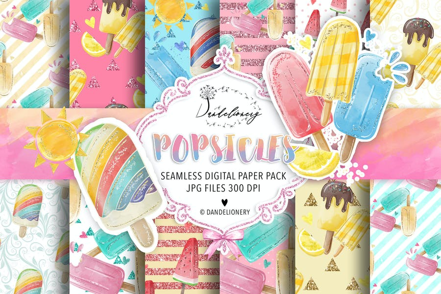 Watercolor Popsicles digital paper pack