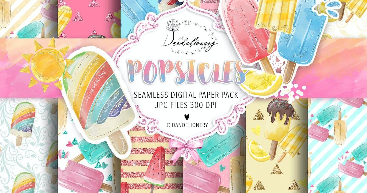 Download Watercolor Popsicles digital paper pack by designloverstudio