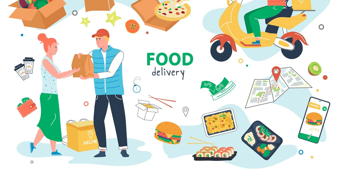 Download Food Delivery Set Isolated Elements by DesignSells