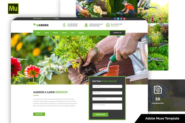Responsive Garden and Lawn Services Muse Template