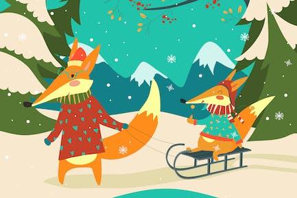 divertido pareja de zorros trineo
