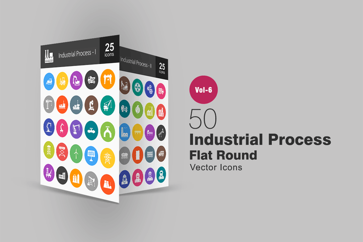 Thumbnail for 50 Industrial Process Glyph Multicolor BG Icons