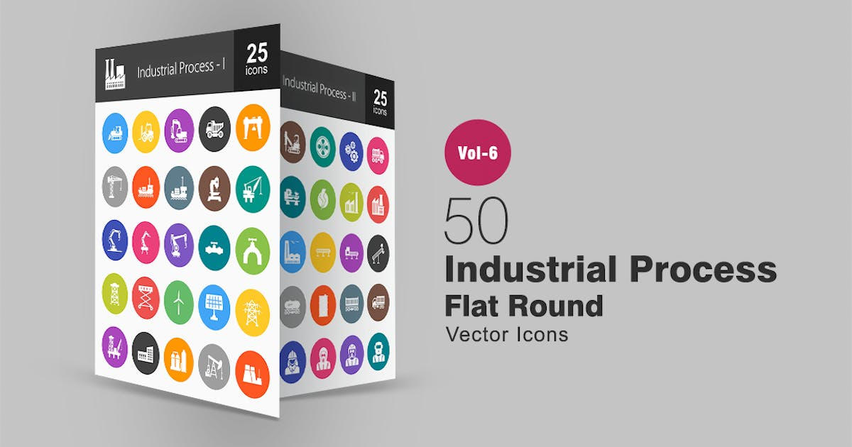 50 Industrial Process Glyph Multicolor BG Icons by IconBunny