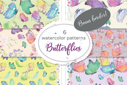 Set of 6 Patterns in Colorful Butterflies