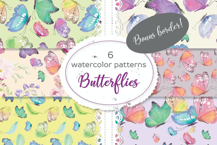 Thumbnail for Set of 6 Patterns in Colorful Butterflies