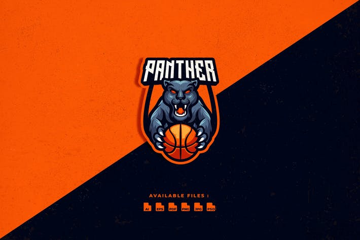 Panther Basketball Character Logo