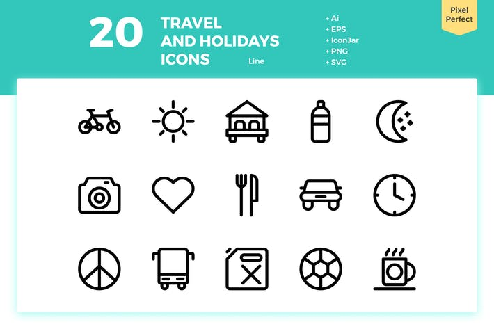 Thumbnail for 20 Travel and Holiday Icons (Line)