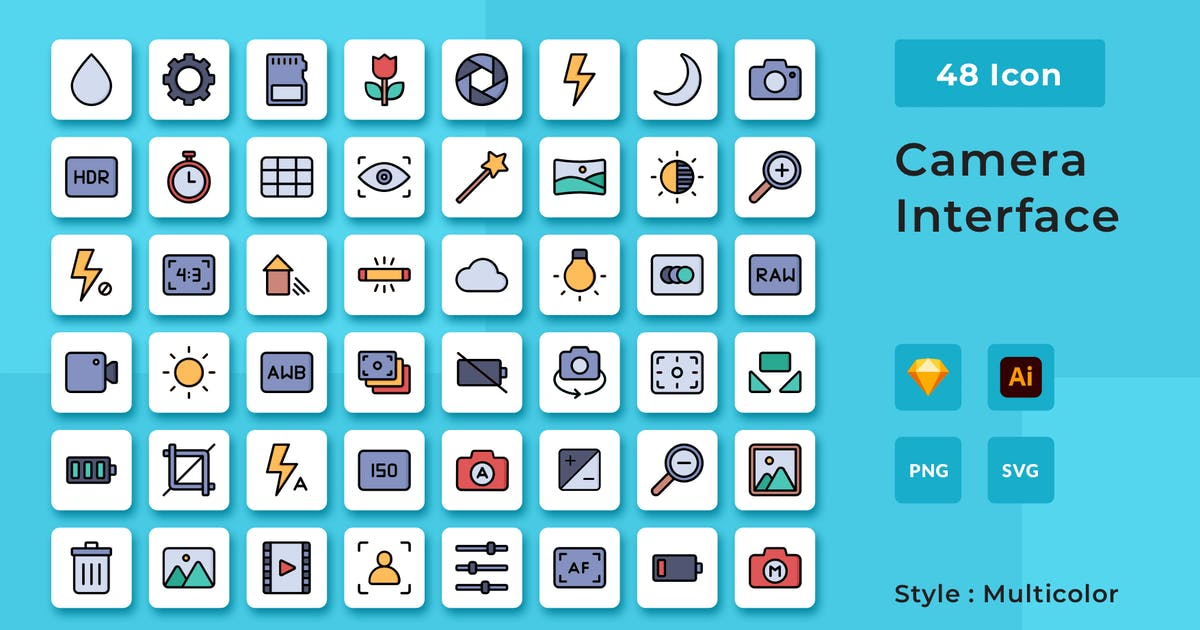 Download Camera Interface Multicolor Style Icon Pack by usedesignspace