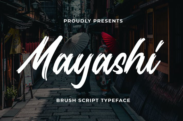 Thumbnail for Mayashi - Brush Script Tipo de letra