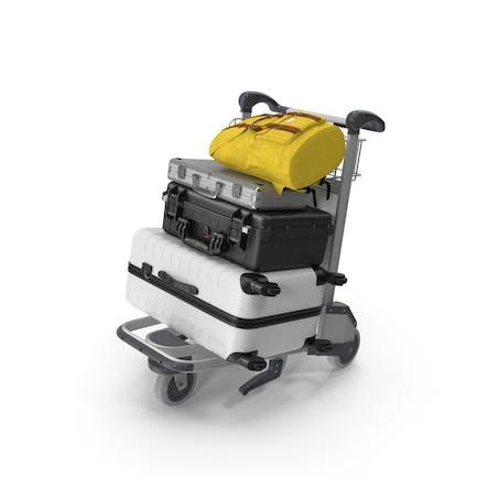 Gepäck mit Flughafen-Gepäckwagen