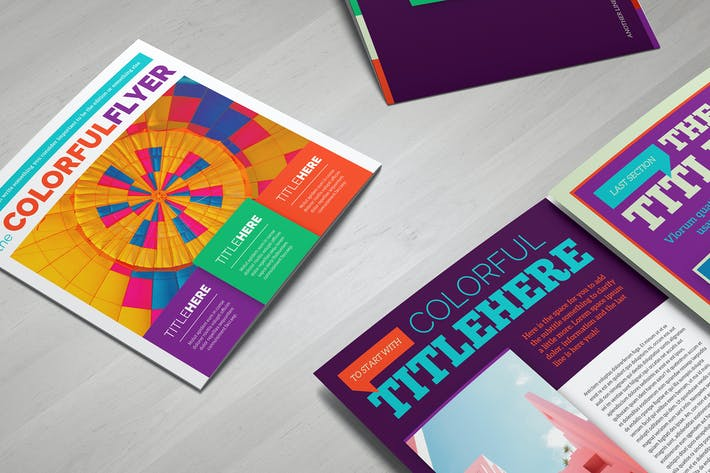 Thumbnail for Colorful Square Brochure Template