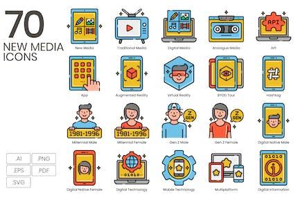 70 Neue Medien-Symbole - Aesthetics Series
