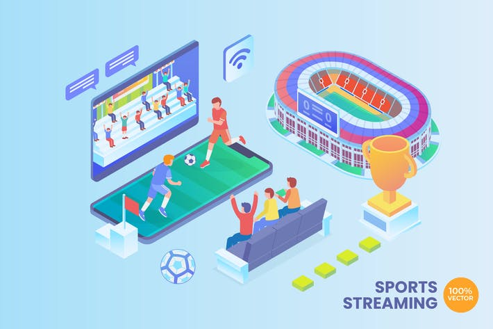 Thumbnail for Isometric Sports Streaming Vector Concept