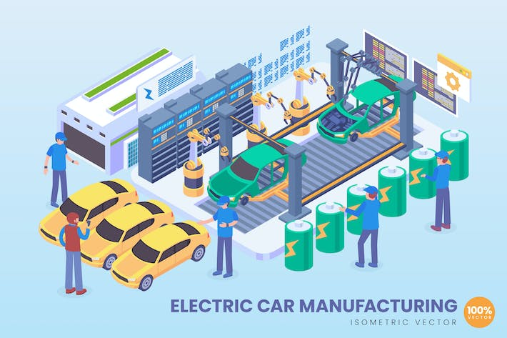 Thumbnail for Isometric Electric Car Manufacturing Vector