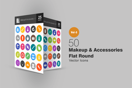 50 Makeup & Accessories Flat Round Icons