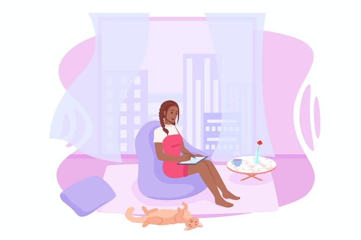 Thumbnail for Remote work at home, girl freelancer with a tablet
