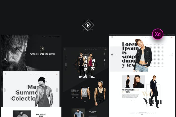 Thumbnail for Platinum - Stylish ecommerce Adobe XD Template