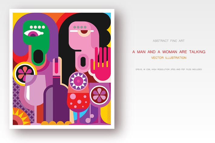 Cover Image For Man and woman are talking vector artwork