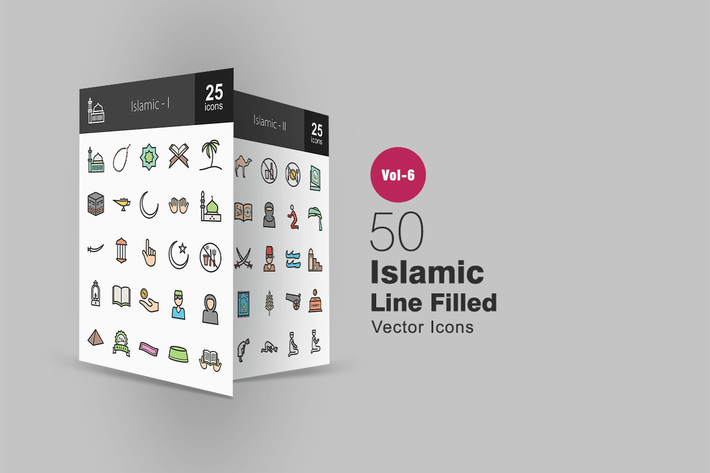 Thumbnail for 50 Islamic Filled Line Icons