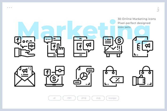 Thumbnail for 30 Online Marketing Icons